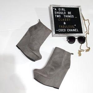 NEW gray suede wedge booties